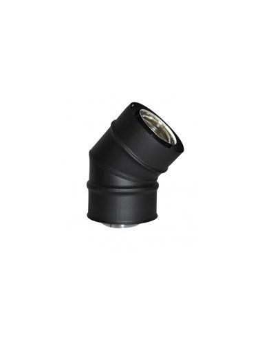 Coude 45° concentrique pellets noir mat